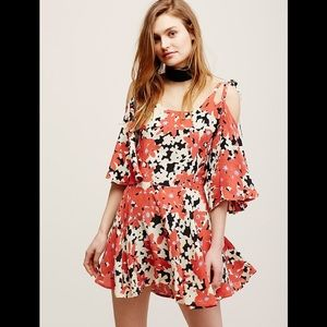 Free people floral Lucina cold shoulder mini dress